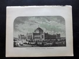 Voyages and Travels 1887 Print. Memorial Hall, Centennial Grounds, Philadelphia
